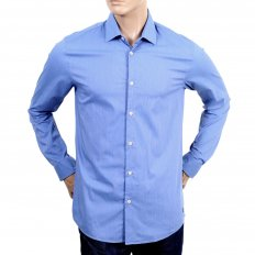 Slim Fit Stretch Cotton Mix Shirt in Blue for Men
