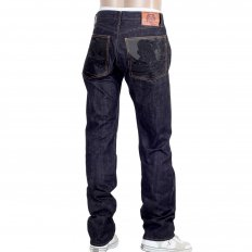 Slimmer Cut Indigo Raw Denim Selvedge Jeans for Men with Black Bushi Embroidery