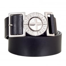 Black Leather Belt with Metal Side Release Adjustable Compass Logo Buckle