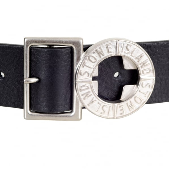 STONE ISLAND Black Leather Belt with Metal Side Release Adjustable Compass Logo Buckle