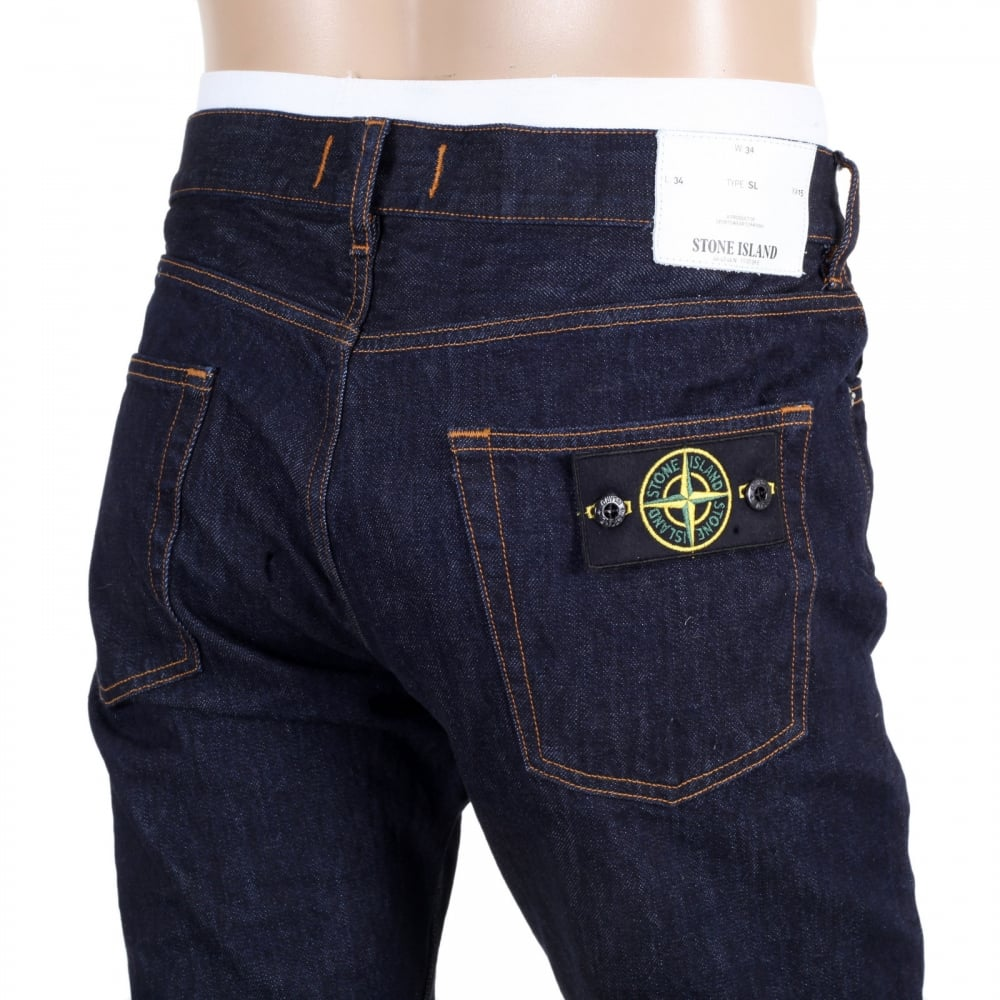 ... STONE ISLAND Five Pocket Button Fly Dark Washed Indigo Slim Fit Denim  Jeans for Men ...