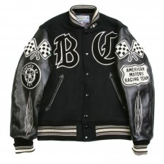 Black Raglan Sleeve Crank Busters Regular Fit Letterman Jacket WV11375