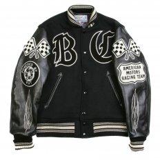 Black Raglan Sleeve Crank Busters Regular Fit Letterman Jacket WV11375