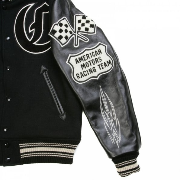 SUGAR CANE Black Raglan Sleeve Crank Busters Regular Fit Letterman Jacket WV11375