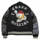 SUGAR CANE Black Raglan Sleeve Crank Busters Regular Fit Letterman Jacket WV11375