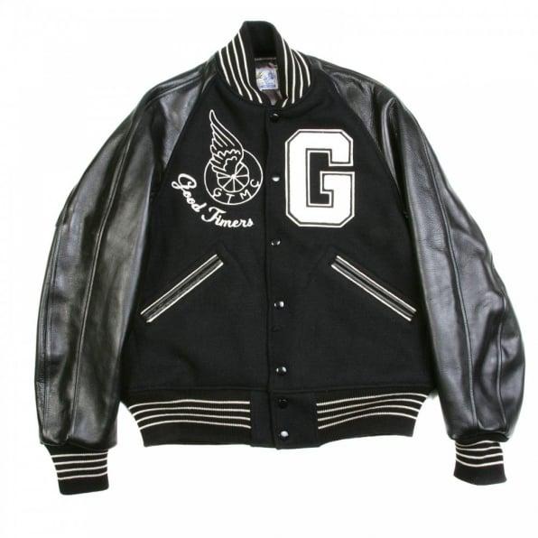 SUGAR CANE Black Raglan Sleeve Good Timers Regular Fit Letterman Jacket WV11376
