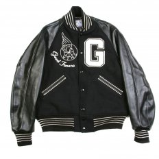 Black Raglan Sleeve Good Timers Regular Fit Letterman Jacket WV11376