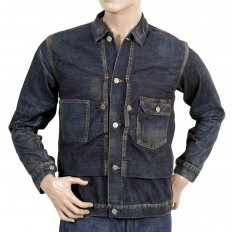 Dark Hard Wash Denim Fiction Romance 1930s Vintage Cut Larger Fit Work Jacket for Men SC12240H