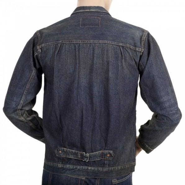 SUGAR CANE Dark Hard Wash Denim Fiction Romance 1930s Vintage Cut Larger Fit Work Jacket for Men SC12240H