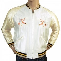 Fully Reversible Silver and Ivory Regular Fit Souvenir Suka Jacket with Embroidered American Eagle for Mens TT13001