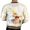 SUGAR CANE Fully Reversible Silver and Ivory Regular Fit Souvenir Suka Jacket with Embroidered American Eagle for Mens TT13001