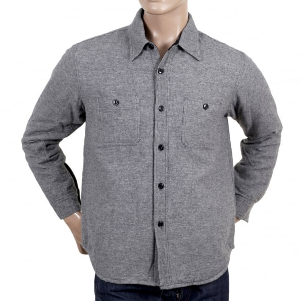 SUGAR CANE Grey Wool Mix SC13177 CPO Long Sleeve Regular Fit Overshirt with Quilted Inner Lining and Polyester Filling