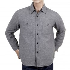 Grey Wool Mix SC13177 CPO Long Sleeve Regular Fit Overshirt with Quilted Inner Lining and Polyester Filling