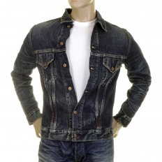 Lone Star 5 Year Aged Button Front Fitted Dark Hard Wash Denim Jacket for Men SC11901H