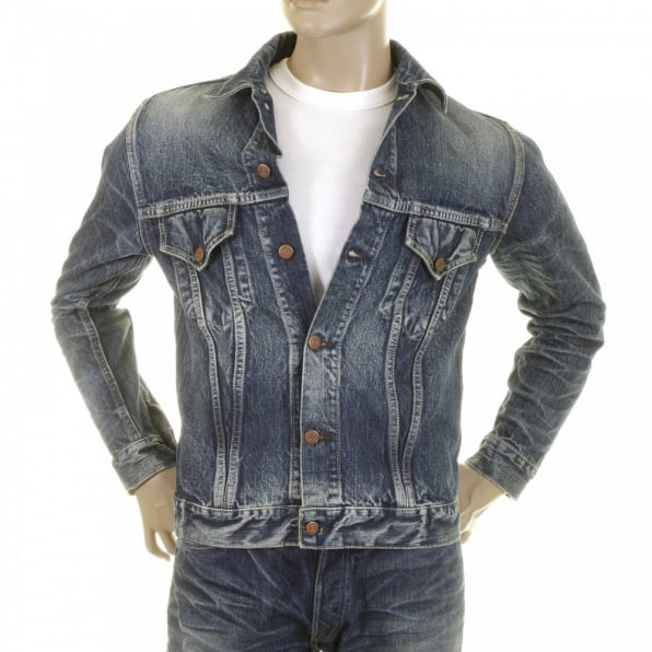 SUGAR CANE Lone Star Hard Light Wash Button Front Fitted Denim Jacket for Men SC11901H