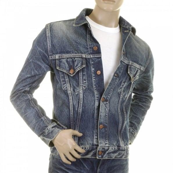 SUGAR CANE Lone Star Hard Light Wash Button Front Fitted Denim Jacket for Men SC11901H