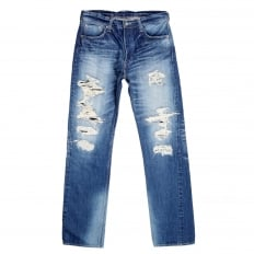 Mens 1 Star 10 Year Aged Wash SC41501R Japanese Selvedge Slim Fit Distressed 14 oz Denim Jeans for Men