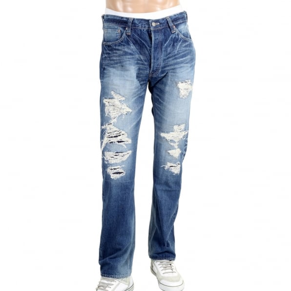 SUGAR CANE Mens 1 Star 10 Year Aged Wash SC41501R Japanese Selvedge Slim Fit Distressed 14 oz Denim Jeans for Men