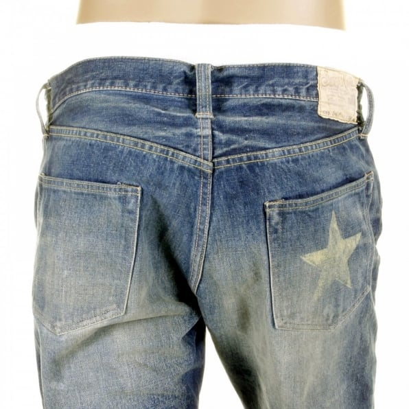 SUGAR CANE Mens 10 Year Aged Vintage Cut Lone Star Japanese Selvedge Denim Jeans with Torn and Repaired Patches SC40901R