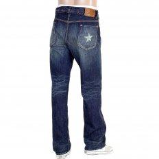 Mens 1930s Cowboy Vintage Cut Japanese Selvedge Lone Star Hard Wash Aged Navy Denim Jeans SC41111H