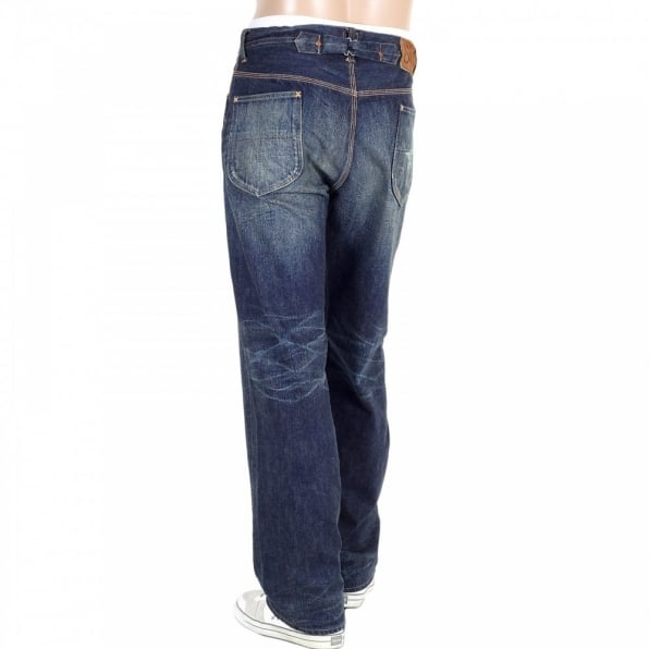 SUGAR CANE Mens 1930s Cowboy Vintage Cut Japanese Selvedge Lone Star Hard Wash Aged Navy Denim Jeans SC41111H