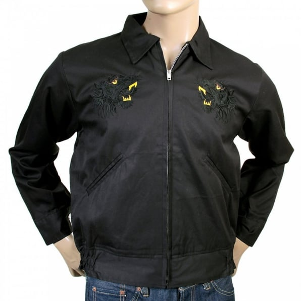 SUGAR CANE Mens Black and Gold Embroidered Tiger Regular Fit Fully Reversible Black Base Cotton Twill Souvenir Jacket TT13002