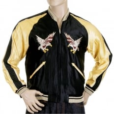 Mens Black and Gold YOKOTA AB Suka Fully Reversible Souvenier Jacket TT11781