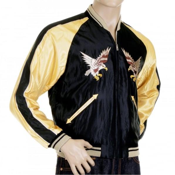 SUGAR CANE Mens Black and Gold YOKOTA AB Suka Fully Reversible Souvenier Jacket TT11781