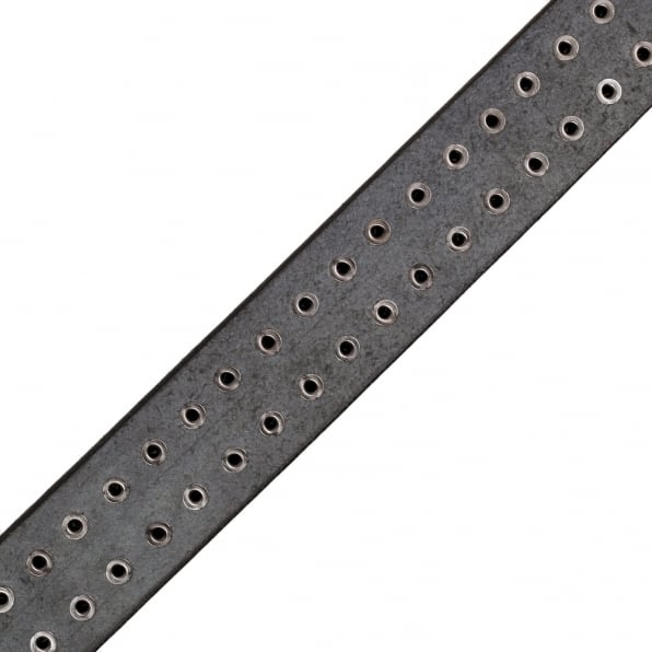 SUGAR CANE Mens Black Garrison SC02322 Leather Belt with Studs on Entire Length