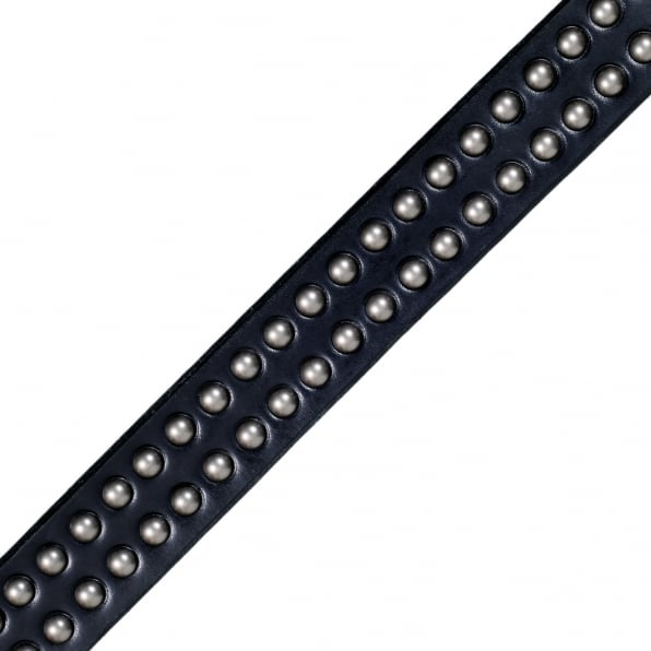 SUGAR CANE Mens Black Garrison SC02322 Leather Belt with Studs on Entire Length
