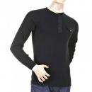SUGAR CANE Mens Black Henley Neck Long Sleeve Fiction Romance Regular Fit Long Sleeve T-shirt SC65293