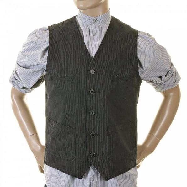 SUGAR CANE Mens Black Japanese Cotton Vintage Cut Regular Fit Striped Waistcoat Work Vest SC12458