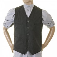 Mens Black Japanese Cotton Vintage Cut Regular Fit Striped Waistcoat Work Vest SC12458