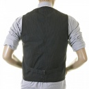 SUGAR CANE Mens Black Japanese Cotton Vintage Cut Regular Fit Striped Waistcoat Work Vest SC12458