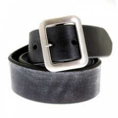 Mens Black Leather Casual Belt with Dull Brushed Steel Rollerball Buckle F01406
