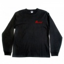 SUGAR CANE Mens Black Slim Fit Ribbed Crew Neck Long Sleeve T-shirt with Hand Embroidered Tiger TT64241