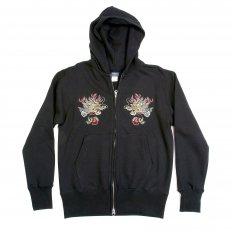 Mens Black Suka Jun Long Sleeve Hells Dragon Slim Fit Hooded Sweatshirt with Two Way Zip Closure TT64244