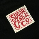 SUGAR CANE Mens Black Tubular Knit Ribbed Crew Neck Cotton Regular Fit T-shirt SC73438