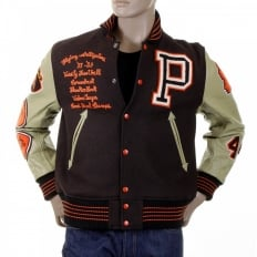 Mens Brown Melton Wool Regular Fit Stadium Flying Alligators Letterman Jacket with Long Dark Cream Leather Sleeves WV12077