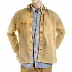 Mens Brown Vintage Wash Fiction Romance Denim Button Front Workwear Jacket SC12241H
