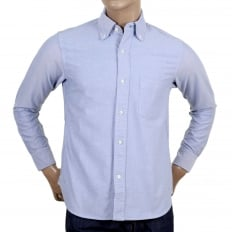 Mens Classic SC25910 Slim Fit Oxford Shirt in Blue with Single Chest Pocket, Rounded Tail and Pleated Back