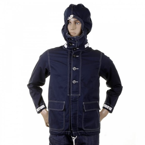 SUGAR CANE Mens Cotton Regular Fit Full Zip Original Lightweight Fabric Herringbone Navy Hooded Jacket SC12164