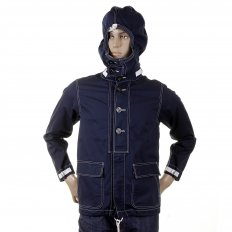 Mens Cotton Regular Fit Full Zip Original Lightweight Fabric Herringbone Navy Hooded Jacket SC12164