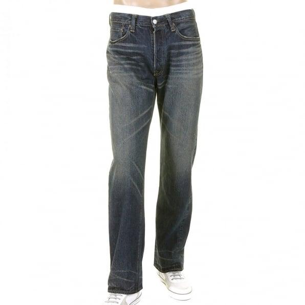 SUGAR CANE Mens Dark Blue Hard Wash Vintage Cut Japanese Selvedge Denim Jeans SC41947H