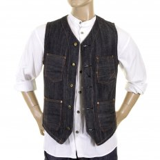Mens Fiction Romance Blue Denim Vintage Cut Non Wash Regular Fit Work Vest Waistcoat Top SC12242N