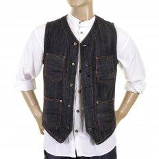 Mens Fiction Romance Blue Denim Vintage Cut Non Wash Regular Fit Work Vest Waistcoat Top SC12242N