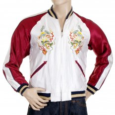Mens Fully Reversible Dragon Embroidered in Silver and Wine YOKOTA AB Regular Fit Souvenir Suka Jacket TT11781
