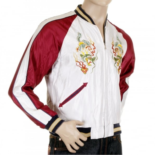 SUGAR CANE Mens Fully Reversible Dragon Embroidered in Silver and Wine YOKOTA AB Regular Fit Souvenir Suka Jacket TT11781