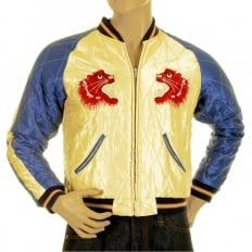 Mens Fully Reversible Dragon Embroidered in Silver and Wine YOKOTA AB Regular Fit Souvenir Suka Jacket TT11781
