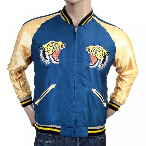 SUGAR CANE Mens Fully Reversible Royal Blue and Golden Regular Fit Suka Souvenir Jacket with Embroidered Tiger TT13001